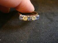 VINTAGE NATURAL 0.75CT CEYLON SAPPHIRE & DIAMOND FIVE STONE ETERNITY RING SIZE M