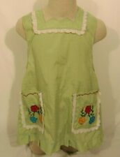 New listing Vintage Handmade Housewife Bib Apron Sewn/Embroidered Flowers, Lace Frills