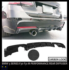 BMW 3 SERIES F30 F31 M PERFORMANCE REAR DIFFUSER SPLITTER VALANCE CARBON LOOK