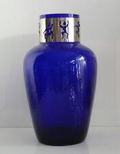 WMF blaue Vase Eisglas Metallmontur Craquelé 1960erJahre Höhe ca.27,5cm