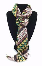 Small Aztec Print Scarf with Removable Flower Clip New