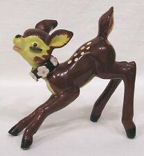 Vintage Deer Figurine Flowers on Collar Brown Yellow Bambi
