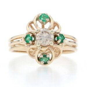 Yellow Gold Diamond & Emerald Floral Ring - 14k Round Brilliant Cut .45ctw