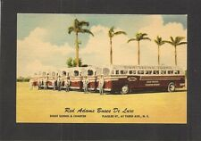 LINEN POSTCARD: RED ADAMS BUS LINE - MIAMI, FLORIDA - SIGHTSEEING TOURS - Unused