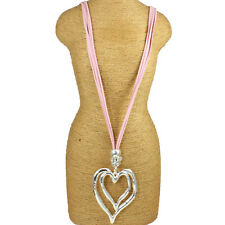 Lagenlook Large chunky double heart silver pendant CZ pink suede long necklace