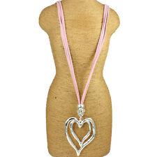 Lagenlook Grande Grueso Doble Corazón Colgante de Plata CZ Rosa Collar Largo De Gamuza