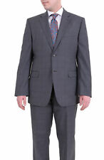 Mens 41R Bruno Piattelli Classic Fit Gray Plaid Two Button Wool Suit