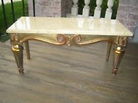 Vintage Gilt Gold Marble top Table Stand Hammary  27 x 11 x 13  Nice!