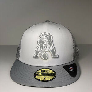 New Boston Patriots White Cloud Mesh Back 59FIFTY Fitted Hat Men Sz 7 Gray UV