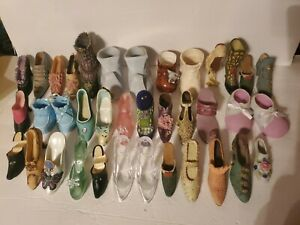 LOT OF 35 Miniature Collectible Shoes-Ceramic MINI VINTAGE HIGH HEELS
