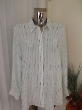 M&s Cream Green Mix Long Sleeve Blouse Top Size 20 Ladies Work Office