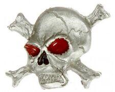 "(#170) Cross Bone Skull with Red Eyes PEWTER Vest / Hat Pin  1"" x 1"" Lady Hawk"