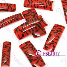 50pcs Acrylic False French Nail Art Full Tips 0026 Red Base Black zebra-Stripe