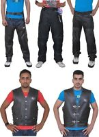 Mens Motorbike / Motorcycle Leather Jacket Large Chaps Vests Pants Trousers CE