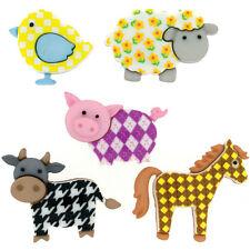 "Dress it Up ""Funky Farm"" Buttons Giraffe Cow Chick Sheep Pig"