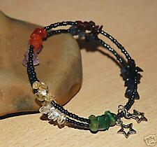 Chakra Multicolore enveloppé Souvenir Câble Bracelet/Bangle & Argent Tibétain