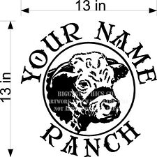 CUSTOM VINYL DECAL YOUR NAME RANCH CATTLE COW HEAD NEW