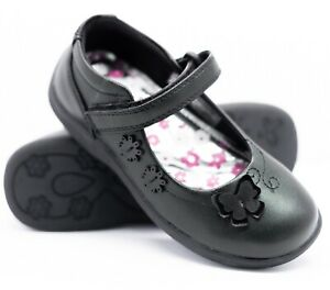 KIDS GIRLS SCHOOL SHOES BLACK FORMAL CASUAL BACK TO SCHOOL STRAPS SHOES 9-3 UK