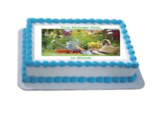 Novelty Personalised Gardening Scene (B) A4 Edible Icing Cake Topper birthday