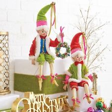 """RAZ Imports 20"""" Posable Elves Elf Ornament Set/2 Pink Red Lime Green Wreath Bell"""