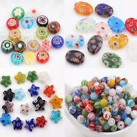 Lots 20Pcs Mixed Oval Star Millefiori Glass Spacer Loose Beads Jewelry Findings
