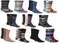 3 Pair Mens Giovanni Cassini Designer Socks, Striped and Plain Assortments, 6-11