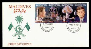 DR WHO 1989 MALDIVES FDC JOHN F KENNEDY JFK SPACE STRIP  f67442