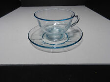 Fostoria Fairfax Footed Cup & Saucer Azure Blue