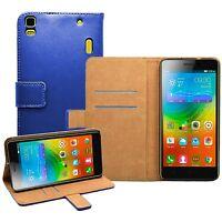 Wallet BLUE Leather Flip Case Cover For Lenovo K3 Note (K50-t5) (+2 FILMS)