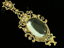 PC060- VICTORIAN inspired Genuine 9ct Yellow Gold NATURAL Large Topaz Pendant