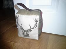 Large Tweed & Stag Heavy Weighted Fabric Door Stop with Leather Handle