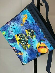 Canvas Crossbody Bag Purse Hand Made Blue Shoulder Bag Medium pures Handmade