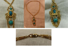 Necklace Christian Dior gold plated turquoise Collier plaqué or