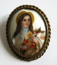 BROCHE PORCELAINE de LIMOGES, Vierge Marie, Christ, religieux, religious .