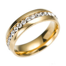 Men Women Band Ring Wedding Stainless Steel Engagement Jewelry Gold SIZE 7