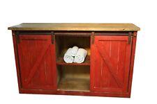 Rustic Reclaimed Wood Red Barn Doors Bathroom Vanity Middle Shelves