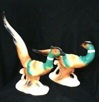 Set of 2 Vintage Royal Copley Pheasant Bird Figurines MCM Console Birds 1950s