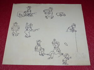 "[Comics Drawing Humor Press] Metal / Board Original Comics "" Ouvriers "" 1960"