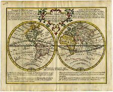 1740 Genuine Antique Map World, E. & W. Hemispheres, California Island. DeLeth