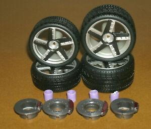 1/18 Scale Miniature Tire Set on Lamborghini Centenario Rims (Car Model Parts)