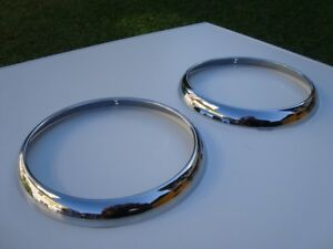 VW Karmann Ghia Chromed Steel Headlamp Rim Headlight Ring 2pcs 141941175A bezel