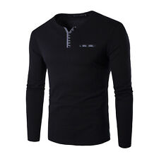 ~ MEN V-NECK BUTTONS TOPS JERSEY RIBBED SWEATSHIRT LONG SLEEVE T-SHIRT BASIC TEE