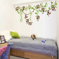 Jungle Animals Monkey Tree Kids Art Decor Mural Decal Wall Stickers Set