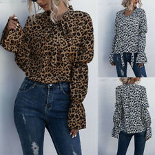 Women Ladies Leopard Print Breathable Puff Sleeve T-Shirt Blouse Top Size 12-20
