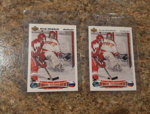 (2) Nicolai Khabibulin 1991-92 Upper Deck Czech & US Rookie card lot UD RC CCCP