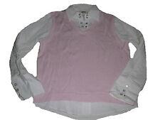 Cecil toller trick Pullover Gr. XL rosa-weiß mit Blusenärmeln und Kragen !!