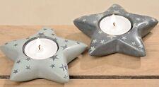 Ensemble de deux Porte-bougies étoile gris stéatite Maison de campagne style
