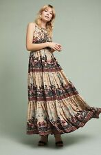 Bhanuni Maxi Dress tan black Floral Embellished Tiered Ruffle 4 NWT