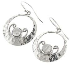 "1"" BALI HAMMERED HANDMADE MOONSTONE 925 STERLING SILVER earrings"