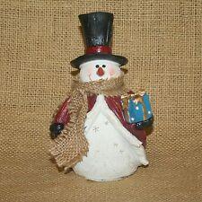 Snowman Holding Present Christmas Winter Figurine